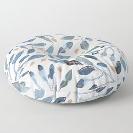 Indigo & gold floral 1 Floor Pillow