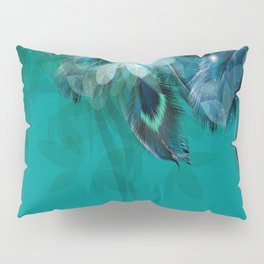 DREAMY FEATHERS & LEAVES - Deep Cyan Pillow Sham
