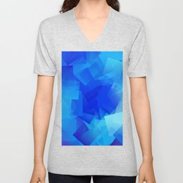 Modern Abstract Art Cool Blue Squares Unisex V-Neck