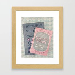 Pink and Gray Books Framed Art Print