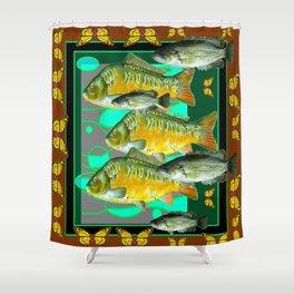 YELLOW MONARCH BUTTERFLIES & BROWN  FISH VIGNETTE Shower Curtain