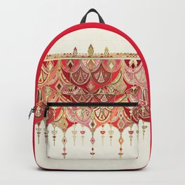 Royal Red Art Deco Double Drop Backpack