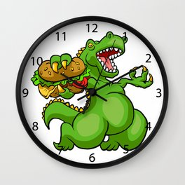 dinosaur eating hamburger Wall Clock