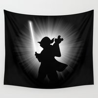 dark side Wall Tapestries featuring YODA'S DARK SIDE by JVZ Designs