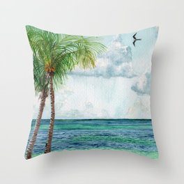 Peaceful Mexico Beach Throw Pillow