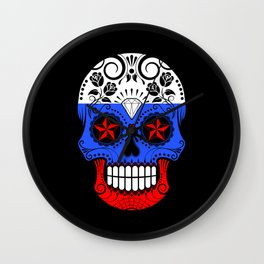 Sugar Skull with Roses and Flag of Russia Wall Clock
