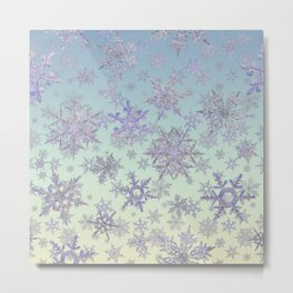 Snowflakes Embroidered on Misty Sky Metal Print