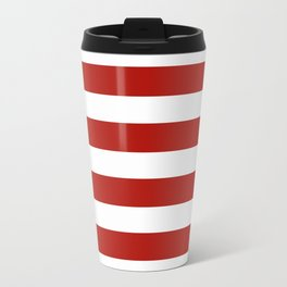 Red & White Maritime Stripes- Mix & Match with Simplicity of Life Travel Mug