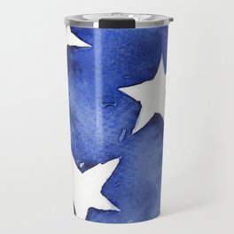 Stars Abstract Blue Watercolor Geometric Painting Travel Mug