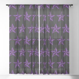 Purple Tattoo Style Star on Black Sheer Curtain