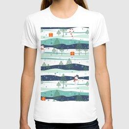 Snowy Landscape Christmas Elements Pattern T-shirt