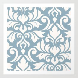 Flourish Damask Art I Cream on Blue Art Print