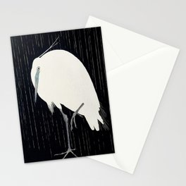 Egret standing in rain - Japanese vintage woodblock print Stationery Cards