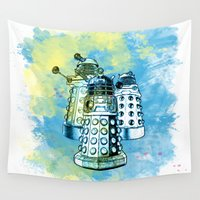 dalek Wall Tapestries featuring Dalek inspired mixed media watercolor by Purshue feat Sci Fi Dude