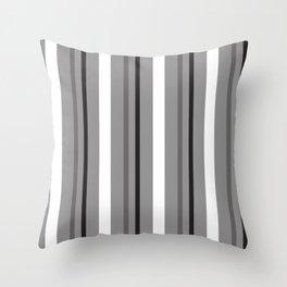 Grey White & Black Stripes Throw Pillow