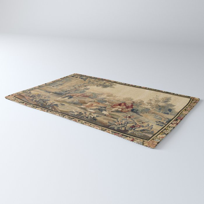 Aubusson  Antique French Tapestry Print Rug