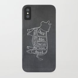 Beef Butcher Diagram (Cow Meat Chart) iPhone Case