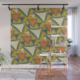 Decades Young 70's Living Room Triangles Wall Mural