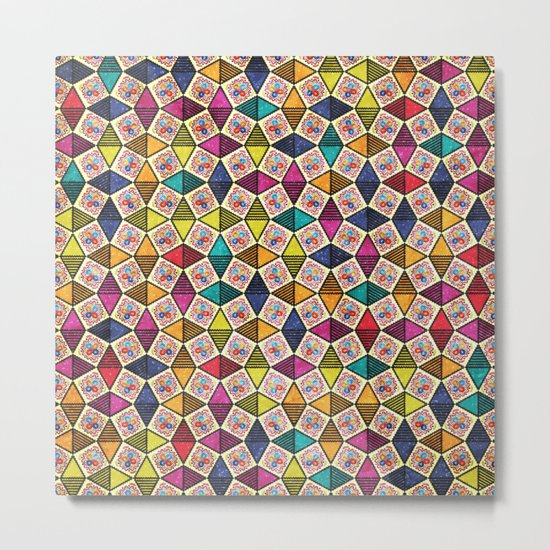 Colorful Kaleidoscopic Abstract Flower Pattern Metal Print