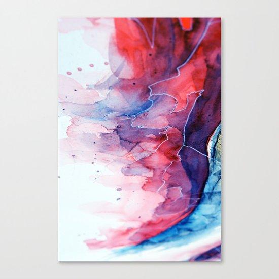 Watercolor magenta & cyan, abstract texture Canvas Print
