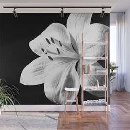 White Lily Black Background Wall Mural