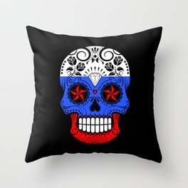 Sugar Skull with Roses and Flag of Russia Throw Pillow