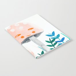 pink mushroom with floral elements Notebook