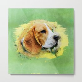 Beagle dog digital art Metal Print