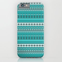 Modern Native Navajo Ethnic Tribal V.02 - Blue Color iPhone Case