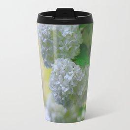 White Viburnum Flowers Branch Close Up Spring Travel Mug