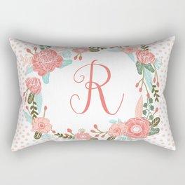 Monogram R - cute girls coral florals flower wreath, coral florals, baby girl, baby blanket Rectangular Pillow