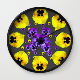 YELLOW & PURPLE PANSY FLOWERS FLOATING ON CHARCOAL Wall Clock