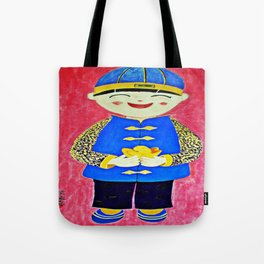 Chinese Boy With Gold Ingots Tote Bag