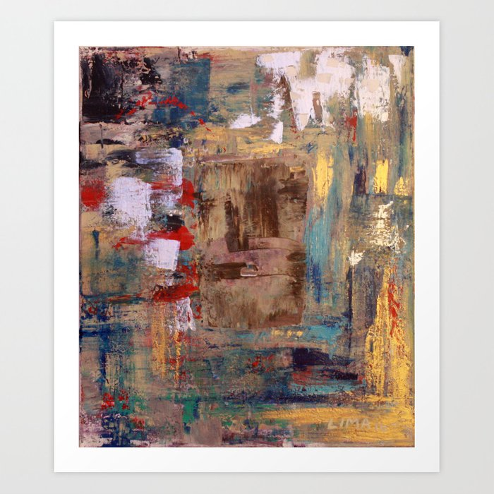 Thinking In Color My Leo Miaou Miaou Abstract Acrylic Painting Of A Lion The Cat Art Print By Limaria