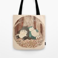 snorlax Tote Bags featuring Best Friends Forevah by Najmah Salam