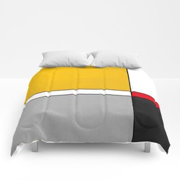 Mid century Modern yellow gray black red Comforters