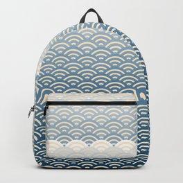 Ocean Japanese Wave Pattern, no border Backpack