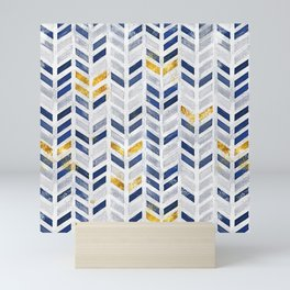 Herringbone chevron pattern.Indigo faux gold acrylic canvas Mini Art Print