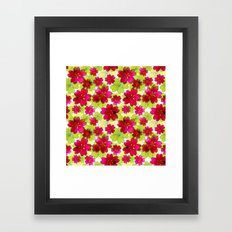 Floral red green pattern. Framed Art Print