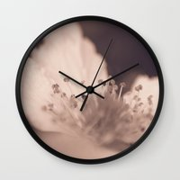 peach Wall Clocks featuring Peach by holleyphotography