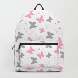 Pink Gray Butterfly Backpack