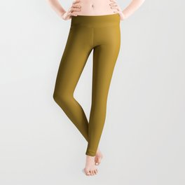 Deep Golden Yellow Brown Velvet Solid Color Parable to Pantone Honey 16-0946 Leggings