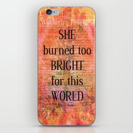 Emily Bronte Wuthering Heights quote iPhone Skin
