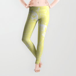Amsterdam Yellow on White Street Map Leggings