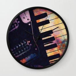 piano and guitar art #piano #guitar #music Wall Clock