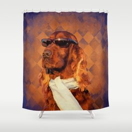 Irish Setter Dog - Sunglasses and Scarf Shower Curtain