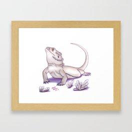 Bearded Dragon - White Framed Art Print