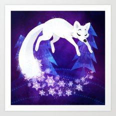 Snow Fox Dream Art Print
