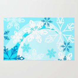 Blue Flower Art Winter Holiday Rug