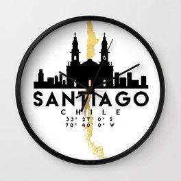 SANTIAGO DE CHILE SILHOUETTE SKYLINE MAP ART Wall Clock